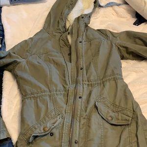 Long green winter jacket